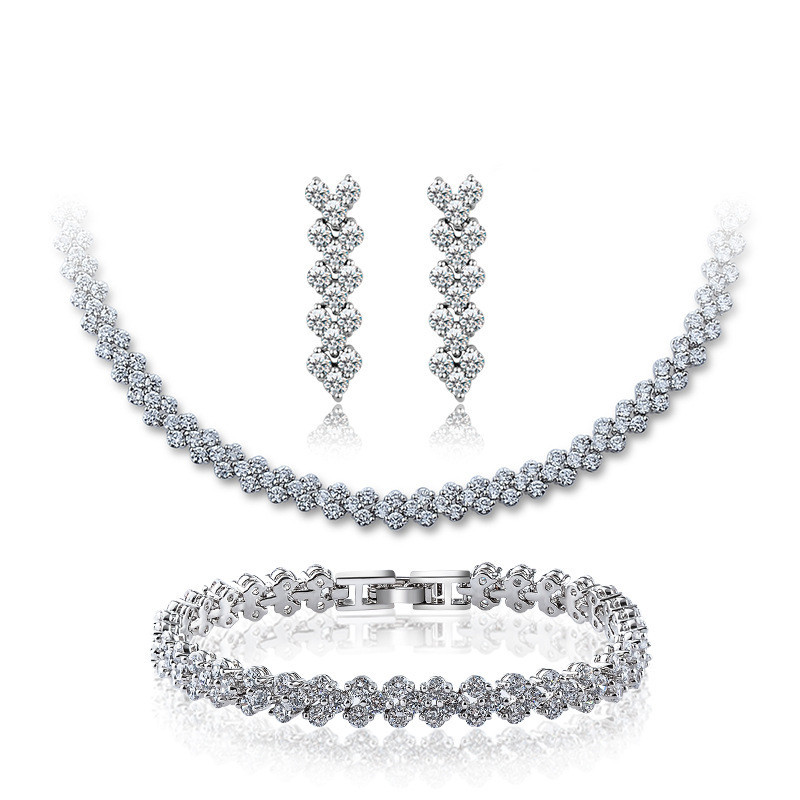 3pcs/Set Women Fashion White Sapphire Jewelry Sets Vintage Roman Necklace/Earrings/Bracelet White Gold Filled CZ Wedding Set<br><br>Aliexpress