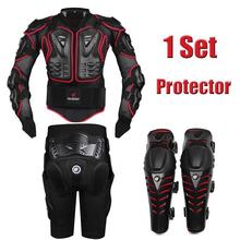 Herobiker rouge moto body armor motocross armour moto vestes + Gears pantalon court + de protection moto Knee Pad(China (Mainland))