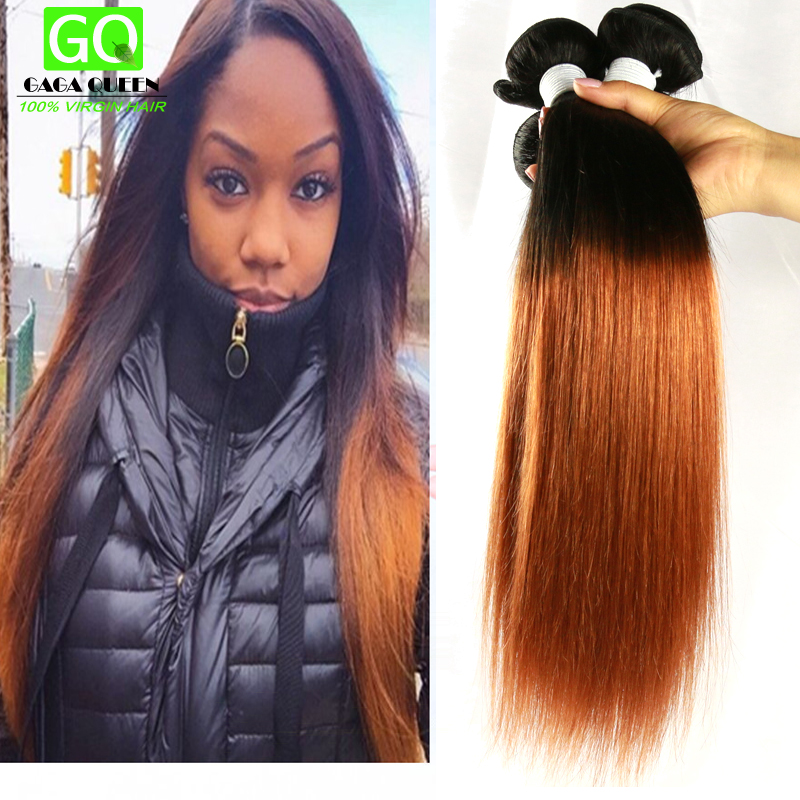4pcs Brazilian Straight Hair two tone Human Hair Weave Ombre Brazilian Straight Hair Bundles Ombre Virgin Hair Beauty Forever
