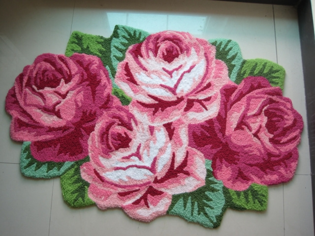 Free Shipping Pink Rose Floral Area Rugs Door Mats Handmade Rose Shaped Embroidery Mats Bath