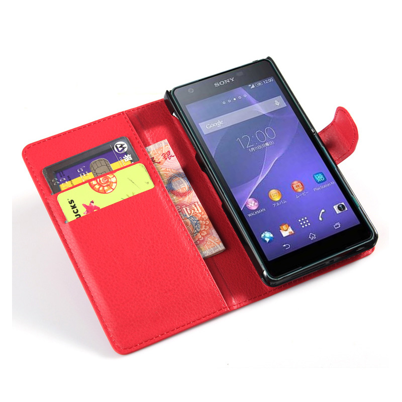 case Sony xperia Z2a Xperia ZL 2 ZL2 litchi texture flip wallet leather stand function - Shen Zhen Longhua Electronic Co., Ltd store