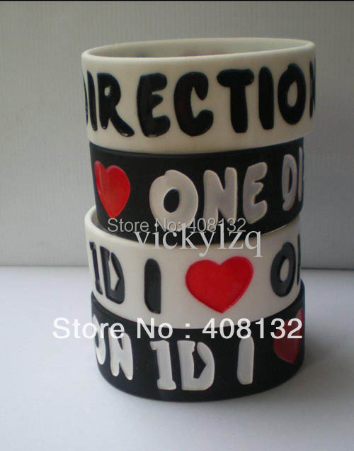 "Wholesale - 1"" wide band, I LOVE ONE DIRECTION 1D wristband, silicon bracelet, 2colours, 50pcs/lot"