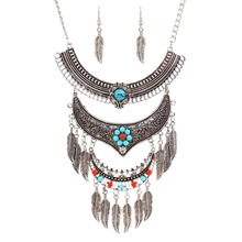 New vintage jewelry set silver plated leaf dangle necklace earring  for women N3529(China (Mainland))