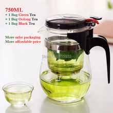 2015 Drinkware 750ml Heat Resistant Glass Tea Pot Teaset Teapot High quality Office Tea Set Gift