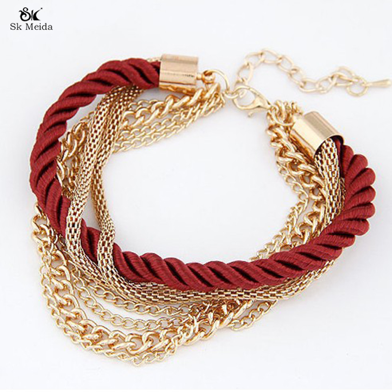 2017 Fashion Multilayer Woven Bracelet Metal Chain Gold Plated Chain Bracelet For Women Jewelry Manufacturing ZB-02(China (Mainland))