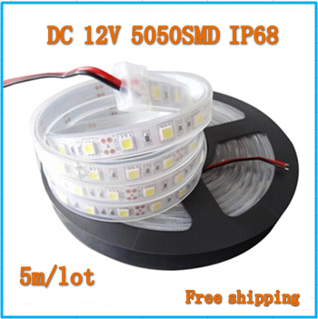 LED strip SMD 5050 DC12V Waterproof IP68 flexible light 60LEDs/m,Cold white,Warm White,Red,Green,Bule,RGB 5m/lot(China (Mainland))