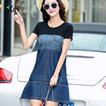 2017 spring and summer new A word dress Casual stitching denim dress Korean version loose women
