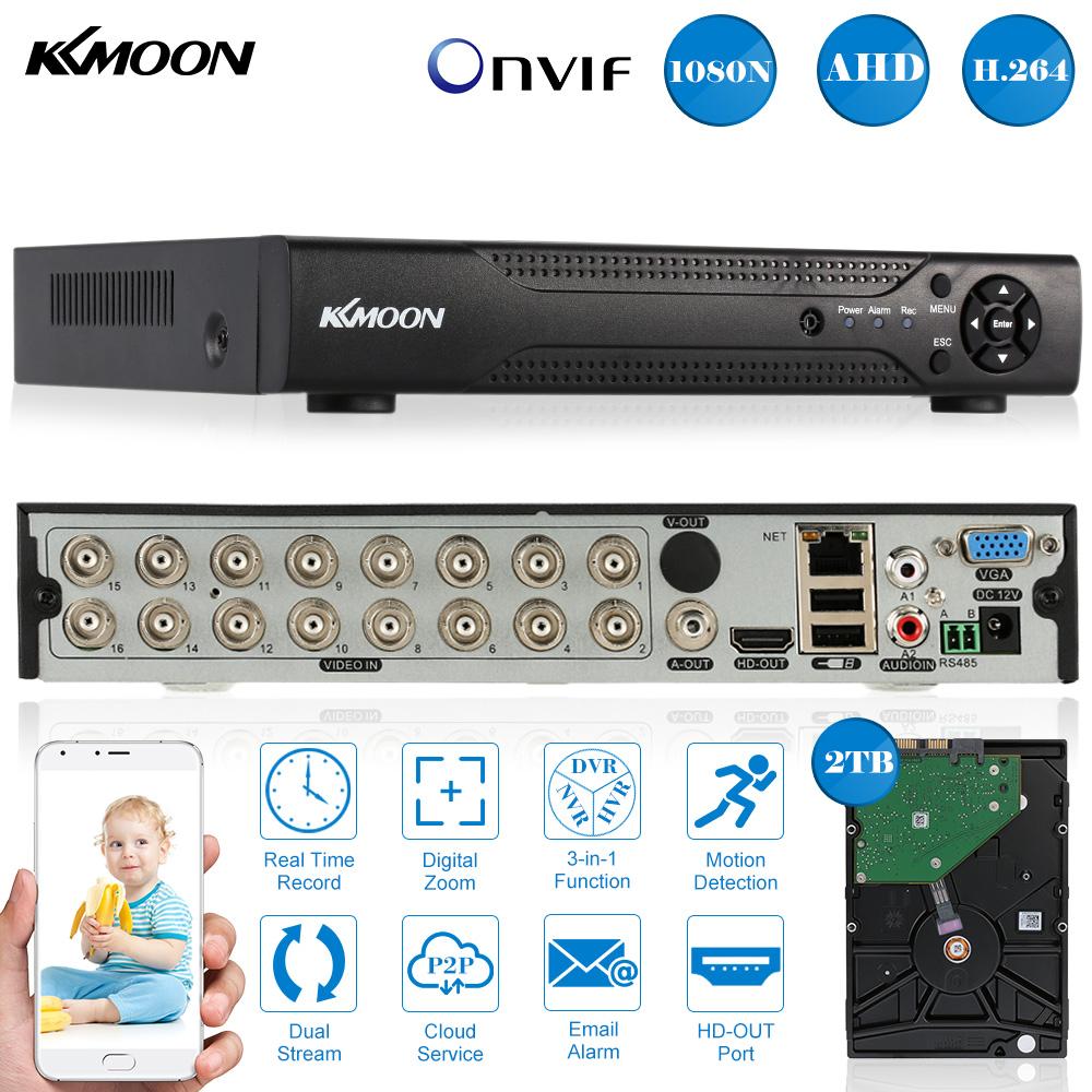 KKmoon 16CH Full 1080N/720P AHD DVR HVR NVR HDMI P2P Cloud Network Onvif PnP Digital Video Recorder + 2TB Seagate Hard Disk(China (Mainland))