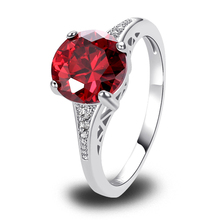 Buy Lingmei Red Garnet Silver Ring Size 6 7 8 9 10 11 12 13 Gems plated Jewelry Wholesale Free Handmade for $2.68 in AliExpress store