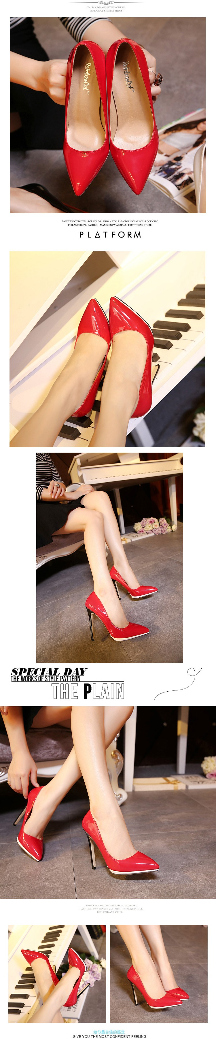 2016 New Women Pumps Thin High Heel Pumps Shoes For Women Pointed Toe Sexy Party Wedding Woman Shoes Red Black White ZX2.5
