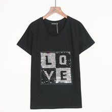 Buy 2 Colors Free t shirt women L.O.V.E Sequined T-shirt Women 2017 Summer Tee Shirt Femme Tops Fashion T-shirt Woman Top for $6.82 in AliExpress store