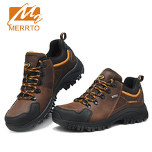 Buy Merrto Men Waterproof Hiking Shoes Outdoor Sports Shoes Genuine Leather Sneakers Breathable Walking Mountain Trekking Shoes Men for $55.32 in AliExpress store