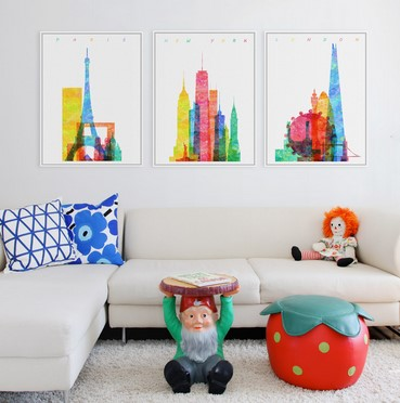 Original Watercolor World City Poster Print Hipster Abstract Wall Art Pop London New York Paris Canvas Painting Gifts No Frame(China (Mainland))