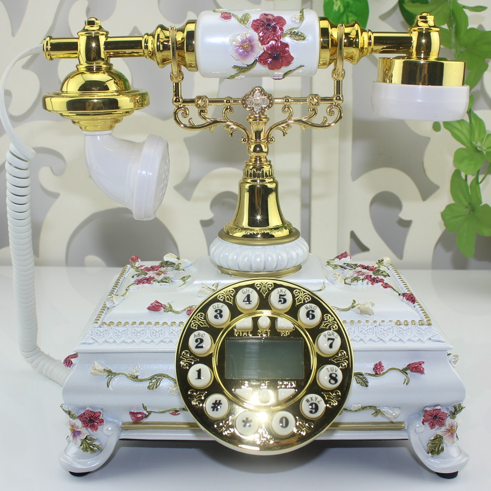 Hot Sale high quality designer fashion pink and white table ceramic vintage telephone with caller id Free shipping(China (Mainland))