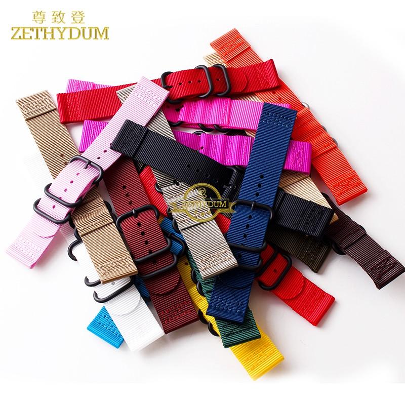 wholesale Nylon watchband perlon watch strap 18mm 20mm 22mm 24mm waterproof sport wristwatches band stainless steel buckle