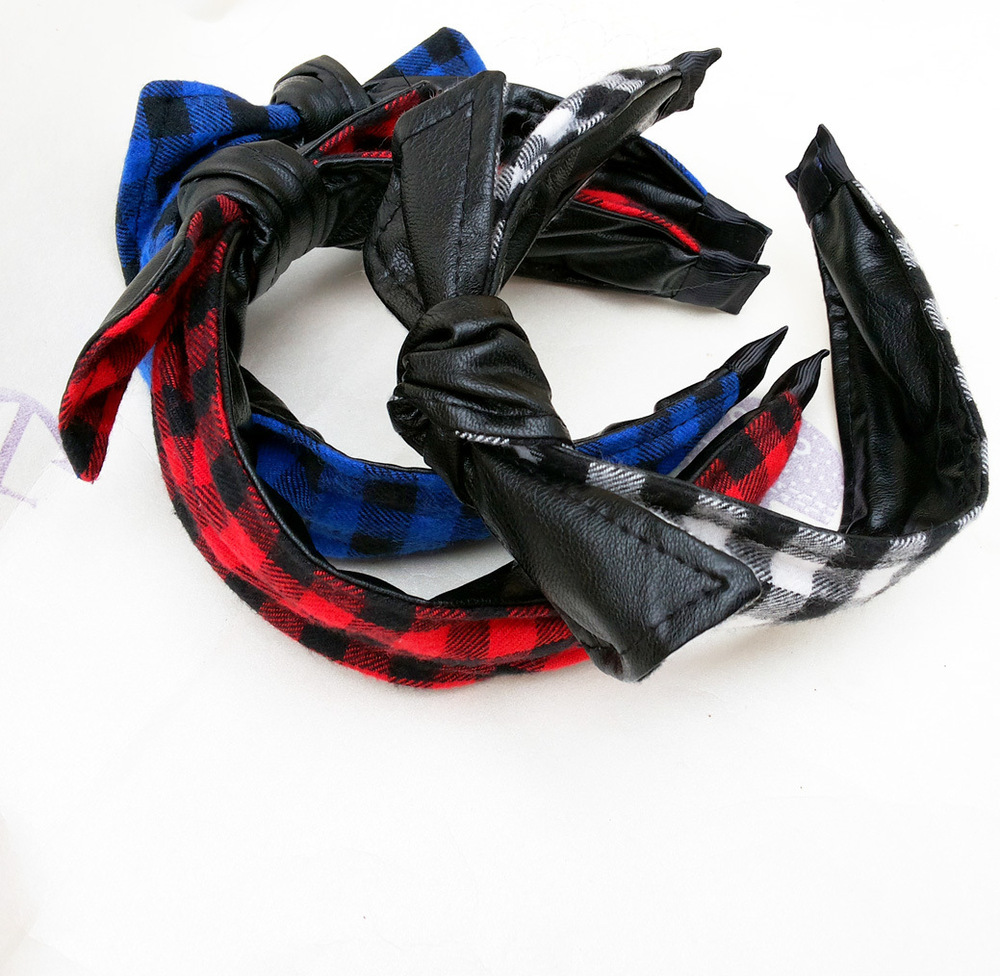 Korean models fall and winter 1118 preferential feedback red plaid double leather headband hair band HH41108(China (Mainland))
