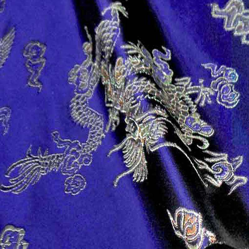 """br-619 Dragon And Phoenix Navy Blue Chinese Brocade Fabric Best Asian Oriental Outfits Cosplay Material 35""""width by The Meter(China (Mainland))"""