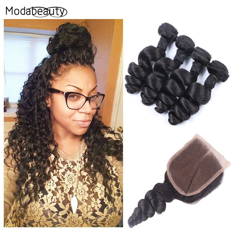 Lace Closure With 4 Bundles 6A Grade Peruvian Virgin Hair Weft With Closure Bleached Knots 5Pcs Peruvian Loose Wave With Closure