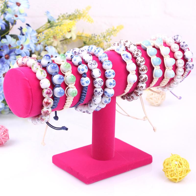 Rose Red T-bar Velvet Bracelet Display Shelf Necklace Holder Frame Watch Stand Jewelry Rack Organizer Decoration Free Shipping(China (Mainland))