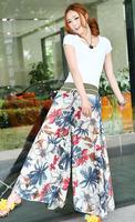 1pcs/lot free shipping wide leg pant Bohemian women plus size chinese style bloomers flower floral print culottes women trouser