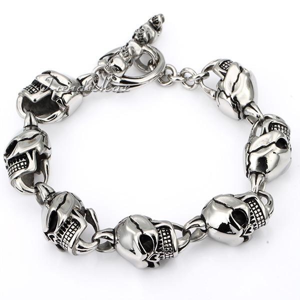 CUSTOMIZE SIZE 14MM 316L Stainless Steel Skull Toggle  Bracelet  Wholesale Promotion Mens Bracelet HB07<br><br>Aliexpress