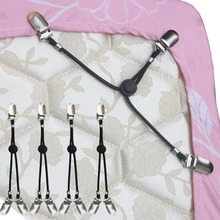 NEW STYLE 4-Pc 3-way Model Adjustable Elastic Bed Sheet Clips Grippers Fasteners Suspenders Strap Holder(China (Mainland))