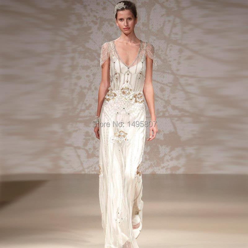 Buy 2015 New Arrival Art Deco Wedding Dresses Sheath Open Ba