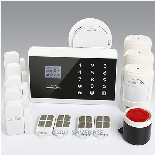 HOMSECUR English, Russian, Spanish & French Voice Android/ iOS APP PSTN Dual-Network Home Security GSM Alarm System Touch Panel(China (Mainland))