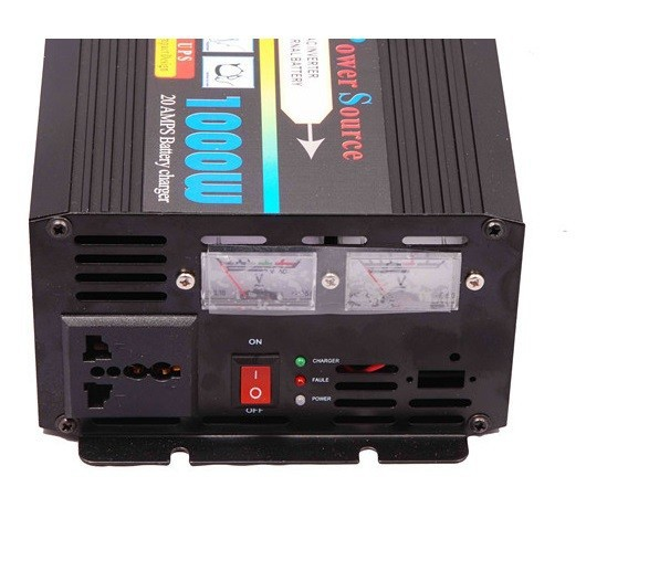 Free shipping off gird DC 24v to 220vAC 1000w inverter with battery charger for home solar wind(China (Mainland))