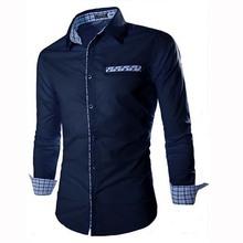 England Style Fashion Leisure Male Shirts Long Sleeve Plaid pocket Decoration Men Shirt Cotton comfortable Slim chemise homme