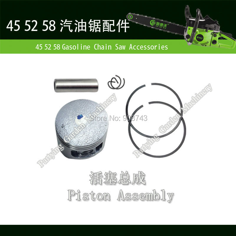 Free Shipping #45/#52/#58 Accessories Piston Assy parts for chainsaws pistons pins rings piston to chainsaw gasket kit H-08(China (Mainland))