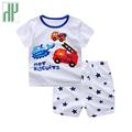 HH Baby boy clothes 2017 baby summer clothing Short sleeved Casual Children print cartoon Shirt Shorts