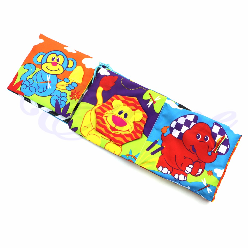 Infant Kid Baby Crib Development Gallery High-Contrast Puzzle Zoo Cloth Book