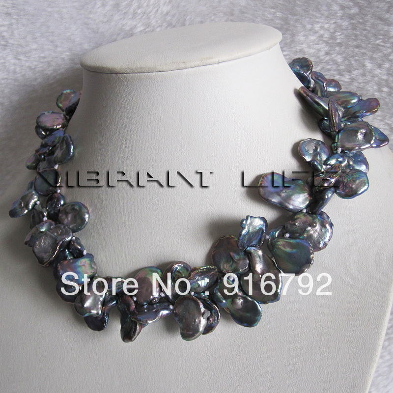"""free shipping >>>>>18"""" 13-19mm Light Peacock Keshi Freshwater Pearl Necklace C(China (Mainland))"""