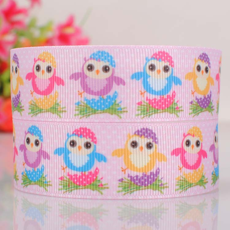 """10yards 7/8"""" (22mm) Lovely colored owl pink color Easter ribbon,Happy Easter owl birds gift ribbon(China (Mainland))"""