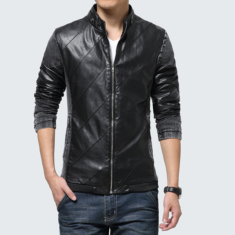 2015 Top Quality New Autumn & Winter patchwork leather and jeans Jacket Men Casual Jackets For Man Outdoors Coat(China (Mainland))