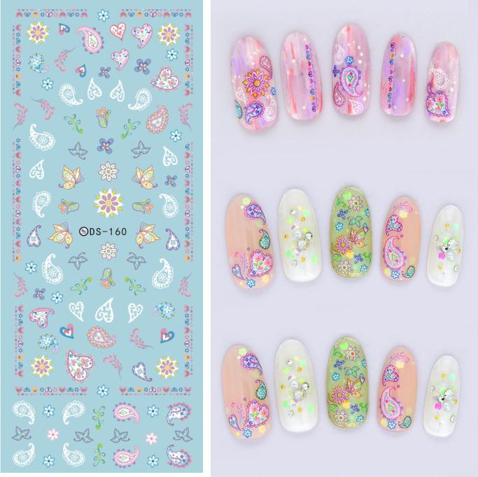 DIY New 2016 Water Transfer Nails Art Sticker Colored Heats Elements Nail Wrap Sticker Tips Manicura nail art decorations(China (Mainland))