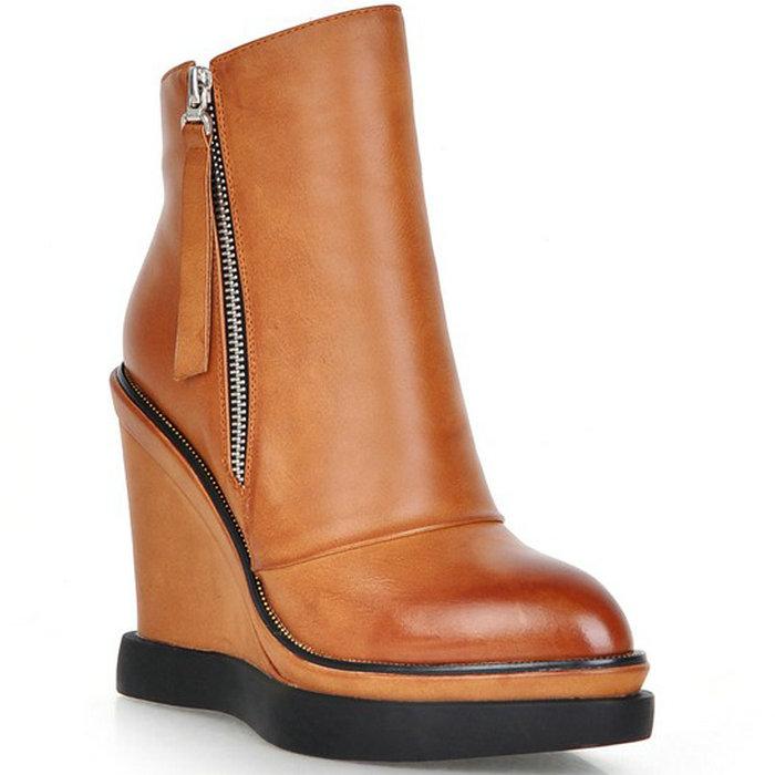 zapatos mujer Women Ankle Boots Wedge Heel Platform Autumn Winter Women Shoes Zip Gladiator Shoes Women Pumps High Heel Boots
