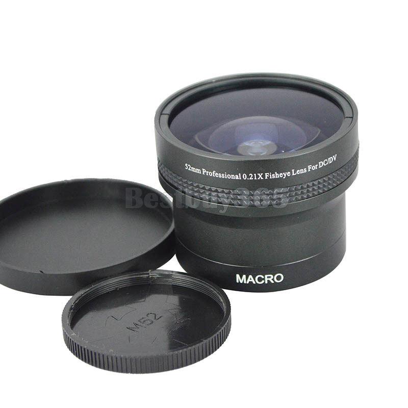 52mm 0.21X Wide Angle Fisheye + Macro Camera Lens for Canon Nikon Pentax Sony Olympus Fuji DSRL Cameras w/ 52mm Filter Size Lens(China (Mainland))