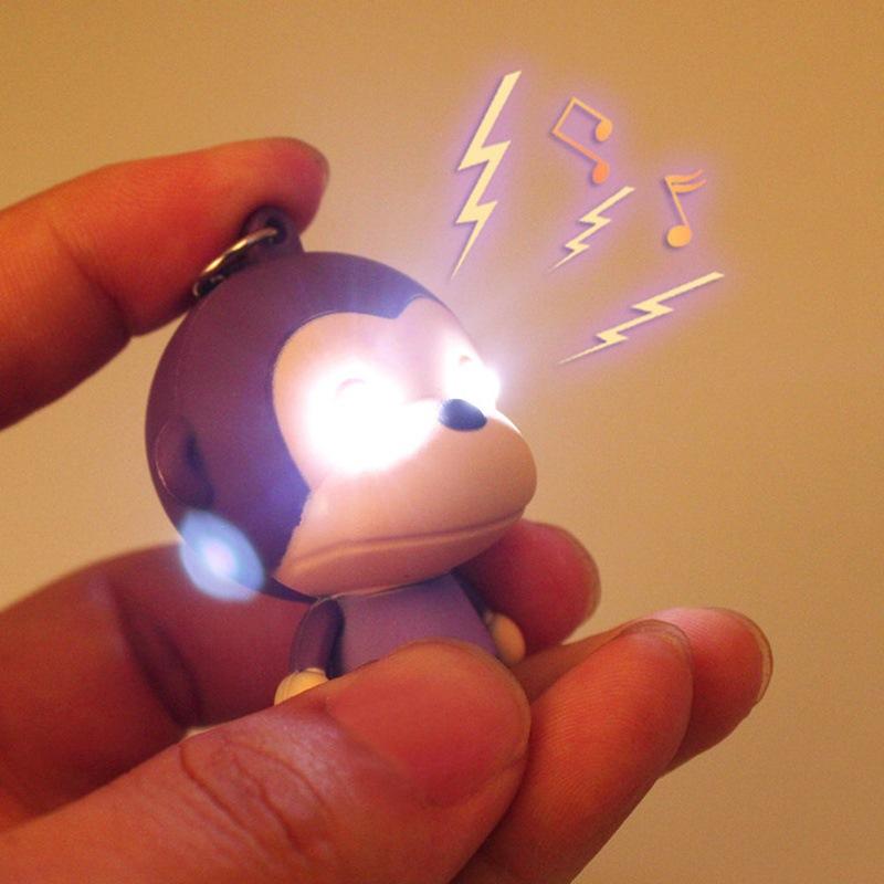 New Monkey LED Flashlight Keychina with sound action toy figures Monkey Keychain toys gift for child kids toys(China (Mainland))