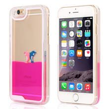 New Styles Aquarium Dolphin Dynamic Liquid Phone Cases for Applie iPhone 4 4s Fashion Quicksand protective housing(China (Mainland))