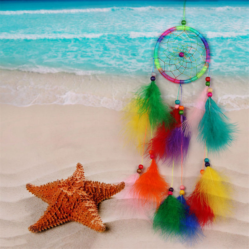 1pcs Handmade India Style Dream Catcher Net With feathers Wind Chimes Hanging Carft Gift For Home Decoration Decor 3 Colors