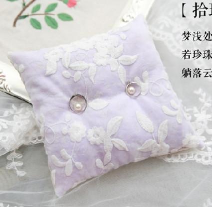 (5pcs/lot) handmade lace ring pillow for wedding purple fresh organza pearl wedding ring pillow(China (Mainland))