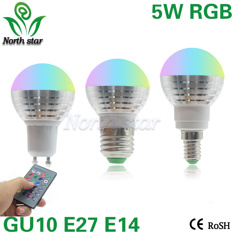 E27 E14 LED RGB Bulb lamp AC110V 220V 5W GU10 LED RGB Spotlight dimmable magic Holiday RGB lighting+IR Remote Control 16 colors(China (Mainland))