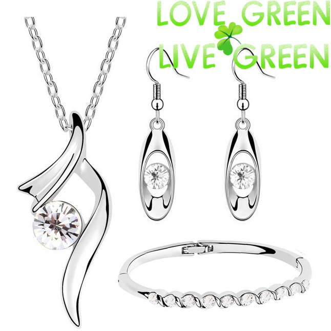 2014 wedding wholesales brand bridal gifts 18K GP zircon pendant necklace earrings bracelet fashion jewelry sets 4 colors 6389(China (Mainland))