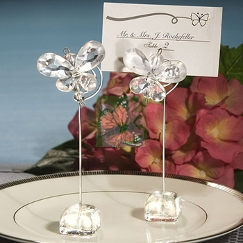 Chic Clear Crystal Butterfly Placecard Holders 12pcs for Wedding Favors Party Stuff Gifts Supplies Free Shipping
