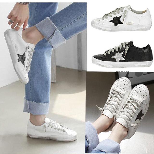 2016 весна лето золотой гусь стиль женской обуви ретро звезды кроссовки женщин искусственная кожа кроссовки белый черный спортивная обувь