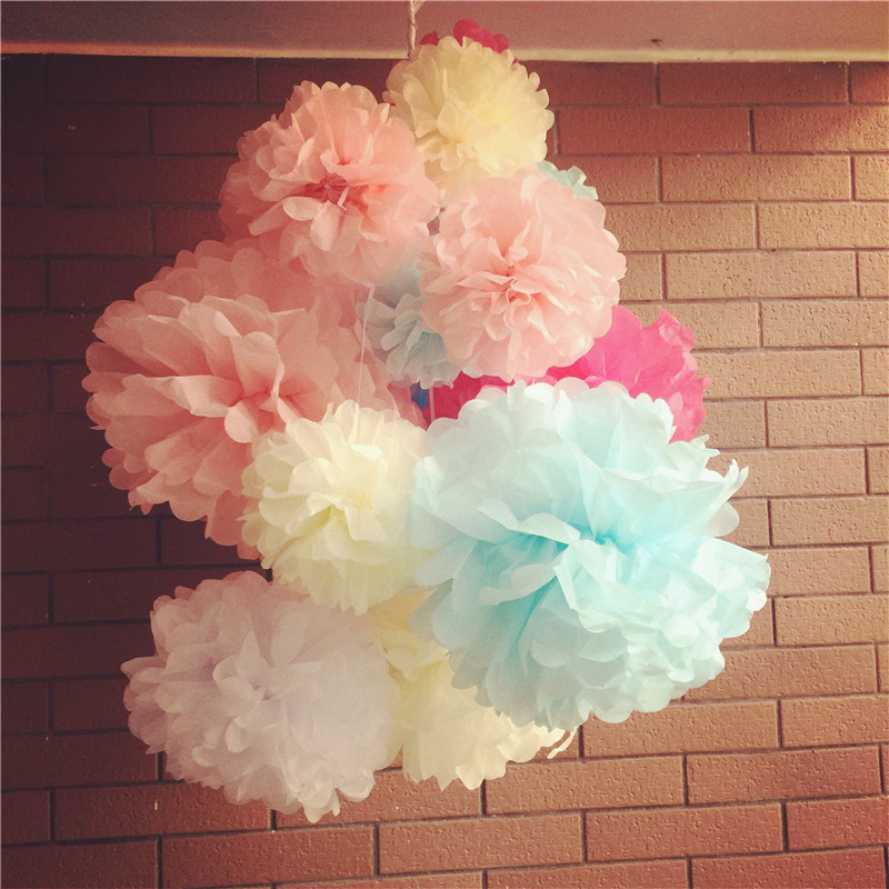 """Mixed Colors Tissue Paper POM POMS Flower Kissing Balls Hanging Flower Balls Baby Shower Decorations 5"""" 10"""" 12""""(13cm 25cm 30cm)(China (Mainland))"""