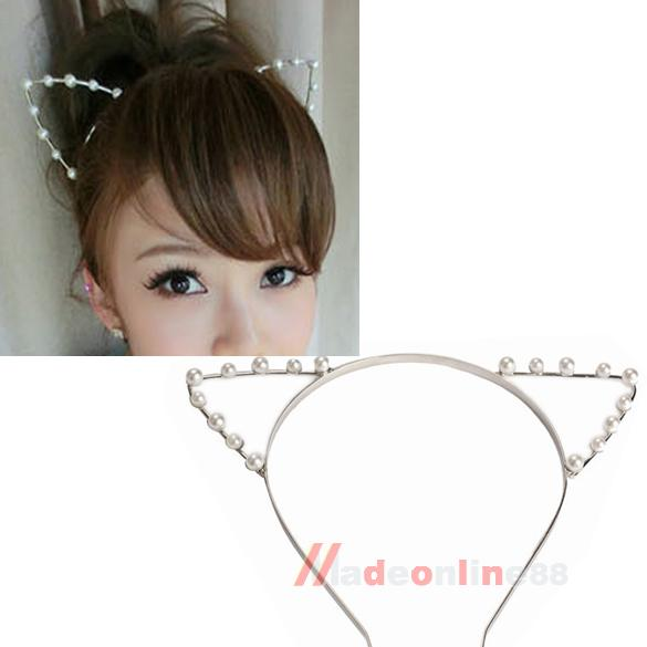 New Sexy Cat Ear Girl Head Band Beaded Hair Band Metal Fashion Silver M3AO(China (Mainland))