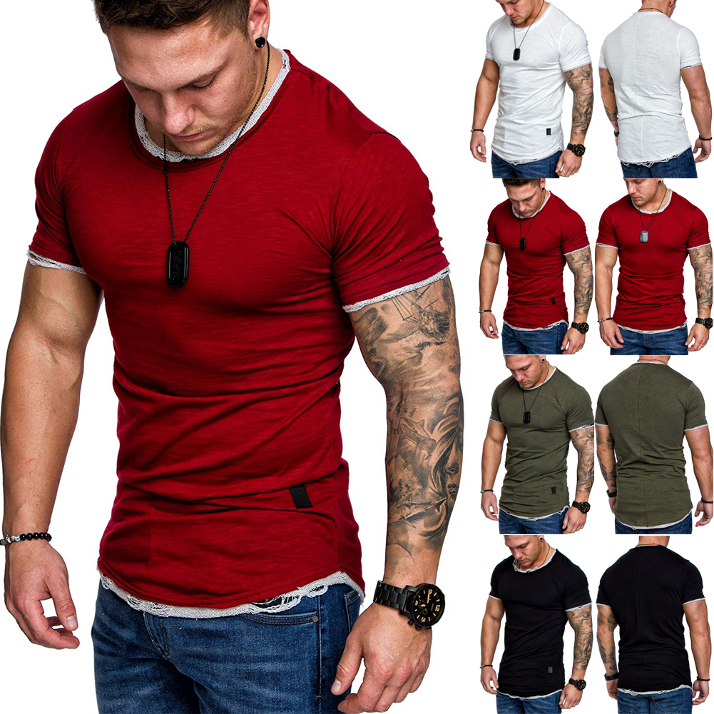 Men/'s Slim Fit Crew Neck Short Sleeve Muscle Tee T-shirt Casual Tops Camo Shirts